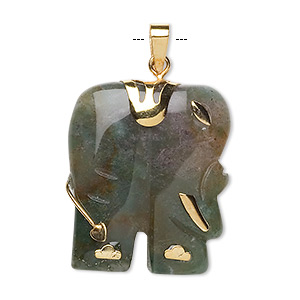pendant, fancy jasper (natural) and gold-finished pewter (zinc-based alloy), 28x23mm-30x25mm single-sided elephant, mohs hardness 6-1/2 to 7. sold individually.