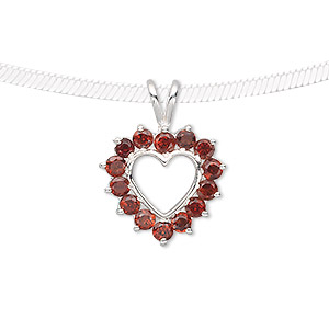 pendant, garnet (natural) and sterling silver, 24x18mm open heart with 3mm faceted round. sold individually.