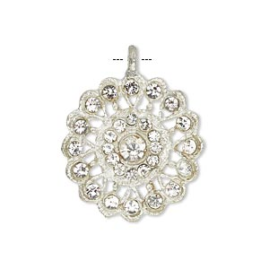 pendant, glass rhinestone and silver-finished pewter (zinc-based alloy), clear, 23mm round. sold individually.