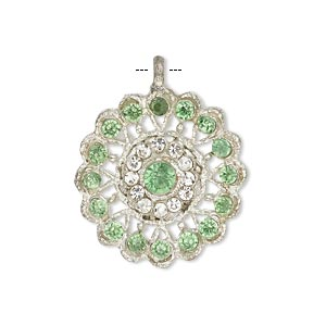 pendant, glass rhinestone and silver-finished pewter (zinc-based alloy), clear and peridot green, 23mm round. sold individually.