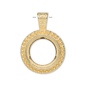 pendant, gold-plated pewter (zinc-based alloy), 31x22.5mm round with rope design and 16mm round setting. sold per pkg of 4.