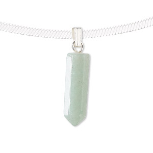 pendant, green aventurine (natural) and silver-plated pewter (zinc-based alloy), 21x6mm point. sold individually.