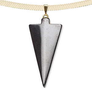 pendant, hemalyke™ (man-made) and gold- and/or silver-plated brass bail, 40x18mm arrowhead. sold per pkg of 4.
