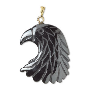 pendant, hemalyke™ (man-made) and gold-plated brass and steel, 29x25mm single-sided eagle head with closed loop. sold per pkg of 2.
