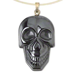 pendant, hemalyke™ (man-made) and gold-plated steel and brass, 34x22mm single-sided skull. sold per pkg of 2.