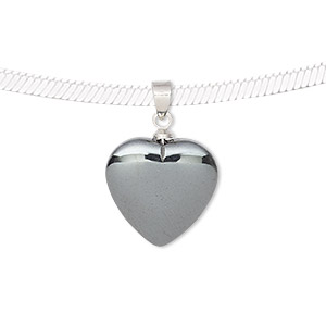 pendant, hemalyke™ (man-made) and silver-finished brass, 22x15mm double-sided heart. sold individually.