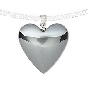 pendant, hemalyke™ (man-made) and silver-finished brass, 29x25mm double-sided heart. sold individually.