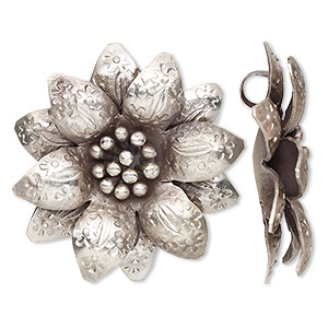 pendant, hill tribes, antiqued fine silver, 36mm flower. sold individually.