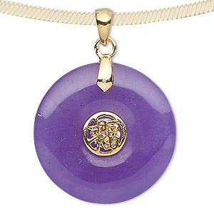 pendant, jade (dyed) and gold-plated sterling silver, purple, 25mm round donut with luck symbol. sold individually.