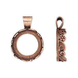 pendant, jbb findings, antique copper-plated brass, 25x18mm round with open back and flower and leaf design trim, 16mm round bezel setting. sold per pkg of 2.