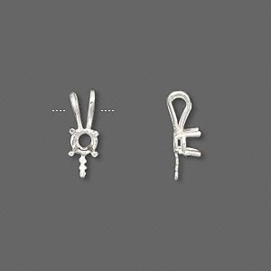 pendant, jbb findings, fine silver, 15x6mm 4-prong with 4mm round setting and 4.5mm peg. sold individually.