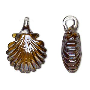 pendant, lampworked glass, brown luster, 27x19mm double-sided seashell. sold per pkg of 2.