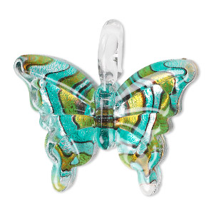 pendant, lampworked glass, multicolored, 38x34mm single-sided butterfly with swirled design. sold individually.