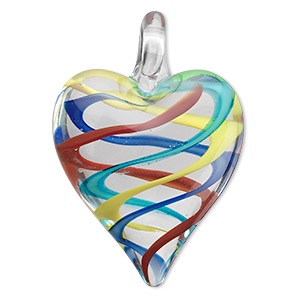 pendant, lampworked glass, multicolored, 42x30mm double-sided heart with swirls. sold individually.