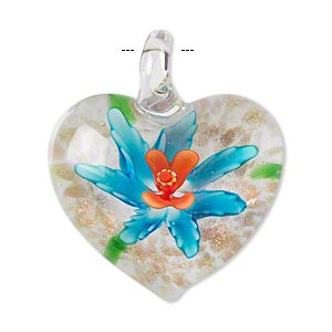 pendant, lampworked glass, multicolored with copper-colored foil, 40x31mm single-sided puffed heart with flower. sold individually.