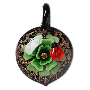 pendant, lampworked glass, multicolored with copper-colored foil, 50x34mm single-sided domed round with flower and ladybug design. sold individually.