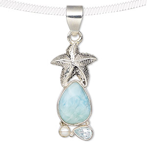 pendant, larimar (natural) / sky blue topaz (irradiated) / cultured freshwater pearl (bleached) / antiqued sterling silver, 32x15mm with starfish and teardrop. sold individually.