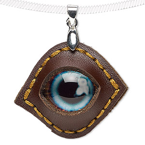 pendant, leather (dyed) / glass / silver-plated brass, light blue and multicolored, 37x31mm single-sided marquise with dragon eye. sold individually.