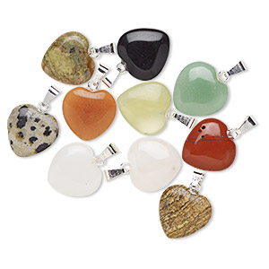 pendant mix, gemstone (natural) with gold-finished or silver-plated brass, 15x15mm heart. sold per pkg of 10.