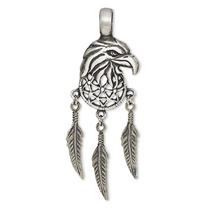 pendant, pewter (tin-based alloy), 67x23mm single-sided eagle head with three dangling feathers. sold individually.