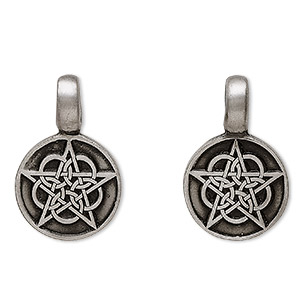 pendant, pewter (zinc-based alloy), 33x22mm round with celtic star. sold individually.
