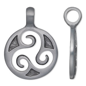 pendant, pewter (zinc-based alloy), 36x25mm single-sided round with triskele design. sold individually.