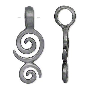 pendant, pewter (zinc-based alloy), 39x16mm double-sided double spiral. sold individually.