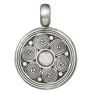 pendant, pewter (zinc-based alloy), 45x31mm flat round with spirals. sold individually.