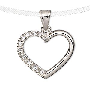 pendant, preciosa czech glass rhinestone and silver-plated pewter (tin-based alloy), clear, 28x24mm open heart. sold individually.