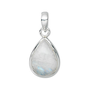 pendant, rainbow moonstone (natural) and sterling silver, 34x16mm teardrop with 18x14mm teardrop. sold individually.