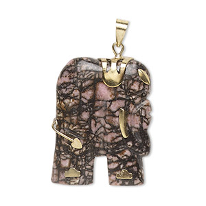 pendant, rhodonite (natural) and gold-finished pewter (zinc-based alloy), 28x23mm-30x25mm single-sided elephant. sold individually.