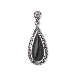 pendant, signity marcasite (natural) / black agate (dyed) / antiqued sterling silver, 32x12mm with 24x12mm teardrop. sold individually.