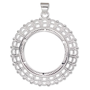 pendant, silver-plated pewter (zinc-based alloy), 54mm fancy round with 38mm round setting. sold per pkg of 2.