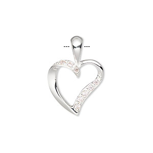 pendant, slide, sterling silver and cubic zirconia, pink, 16mm curved heart. sold individually.