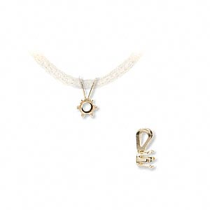 pendant, snap-tite, 14kt gold, 4mm 6-prong round setting. sold individually.