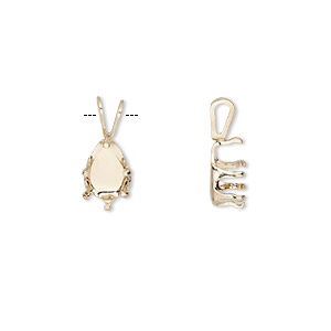 pendant, snap-tite, 14kt gold-filled, 7x5mm 6-prong pear setting sold per pkg of 2.