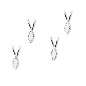 pendant, snap-tite, sterling silver, 6x3mm 6-prong marquise setting. sold per pkg of 4.