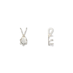 pendant, snap-tite, sterling silver, 6x4mm 6-prong pear setting sold per pkg of 4.