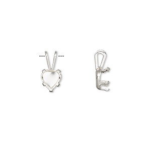 pendant, snap-tite, sterling silver, 6x6mm with 5-prong heart setting. sold per pkg of 2.