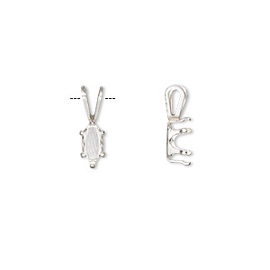 pendant, snap-tite, sterling silver, 8x4mm 6-prong marquise setting. sold per pkg of 4.