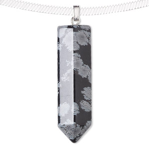 pendant, snowflake obsidian (natural) and silver-plated pewter (zinc-based alloy), 43x12mm point. sold individually.