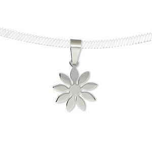 pendant, stainless steel, 14x14mm matte and shiny two-sided flower. sold individually.