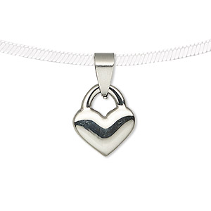 pendant, stainless steel, 16.5x14mm double-sided heart lock. sold individually.