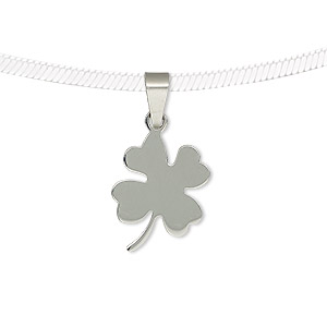 pendant, stainless steel, 18x14mm two-sided matte and shiny 4-leaf clover. sold individually.