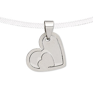 pendant, stainless steel, 22x19mm matte and shiny heart with cutout heart. sold individually.