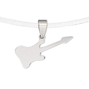 pendant, stainless steel, 31x13mm-32x13mm matte and shiny guitar. sold individually.
