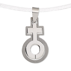 pendant, stainless steel, 31x18mm matte and shiny female symbol with cutout. sold individually.