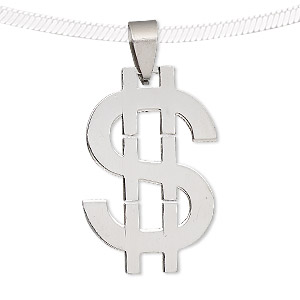 pendant, stainless steel, 33x21mm dollar sign. sold individually.