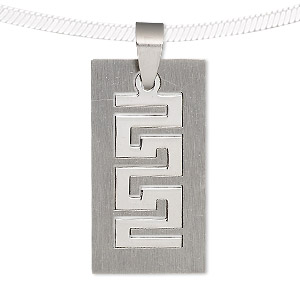 pendant, stainless steel, 34x18mm matte and shiny rectangle with cutout. sold individually.