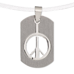 pendant, stainless steel, 34x21mm matte and shiny rounded rectangle with cutout peace sign. sold individually.